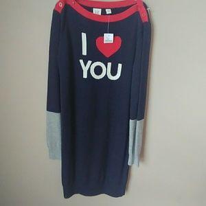 """Gap sweater dress L 10 """"I love you"""""""